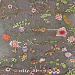Tulle Noir Haute Couture Brodé Composition Floral