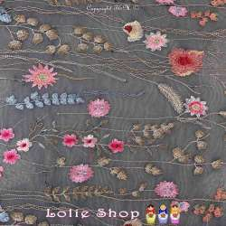 Tulle Marine Haute Couture Brodé Composition Floral