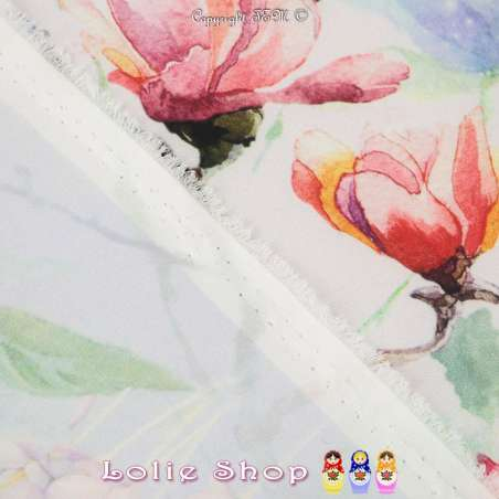 Microfibre Imprimée à Base Mélange Prairie Fleurie Fond Rose Dragée