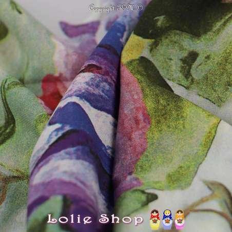 Microfibre Élasthanne Imprimé à Base Grandes Fleurs Ton Violet Fond Bleu Gris