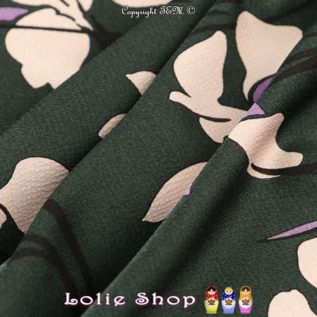Double Crêpe Satiné Imprimé Grandes Fleurs Fond Vert Bouteille