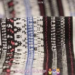 Tissu Viscose Modèle Imprimé Rayures Thème Ethnique