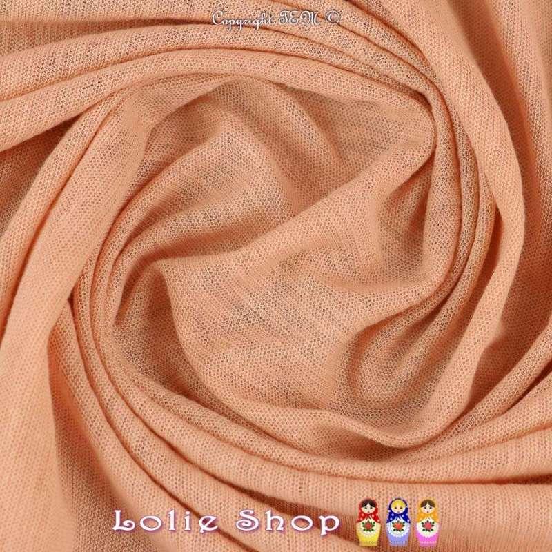 Coupon Jersey Coton Flammé Couleur Rose Saumon