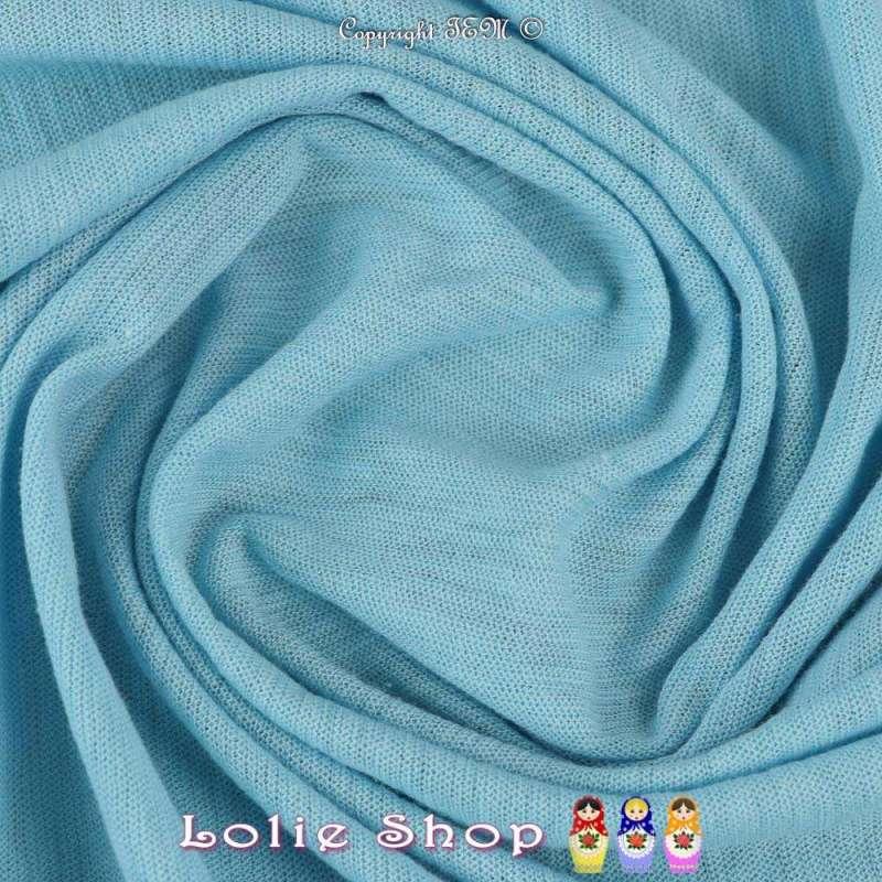 Coupon Jersey Coton Flammé Couleur Bleu Ciel