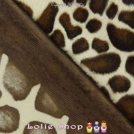 Fourrure Synthétique Ras Motif Girafe Beige et Marron