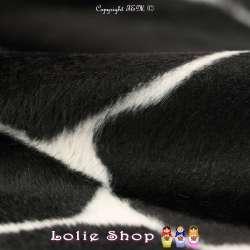 Fourrure Synthétique Ras Motif Peau de Girafe Noir