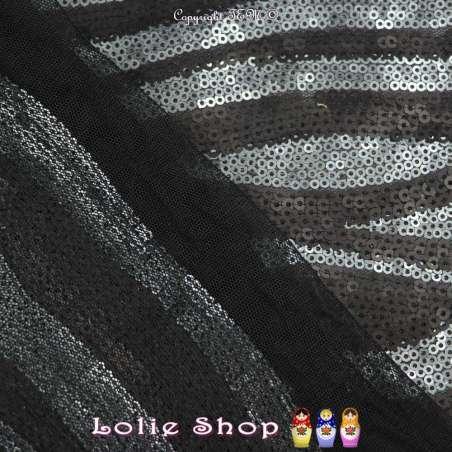 Tulle Entièrement Brodé Petits Sequins Noir Et Bleu Gris