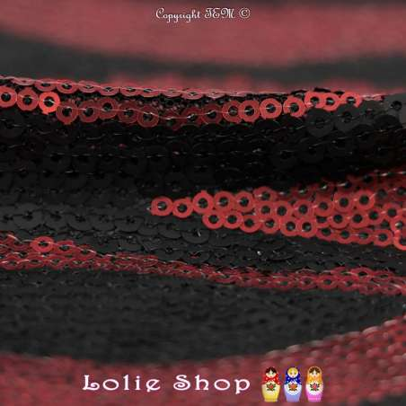 Tulle Entièrement Brodé Petits Sequins Noir Et Rouge