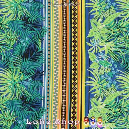 Jersey Cristal CUBA Imprimé Feuillage Tropical ton Vert