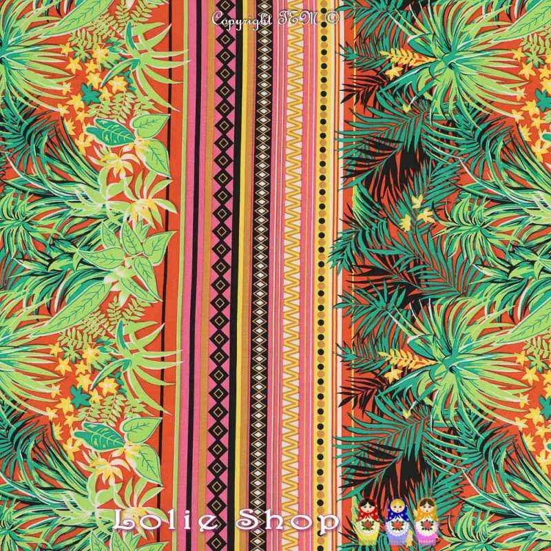 Jersey Cristal CUBA Imprimé Feuillage Tropical ton Rouge et Vert
