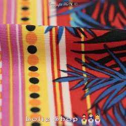 Jersey Cristal CUBA Imprimé Feuillage Tropical ton Rouge Et Bleu