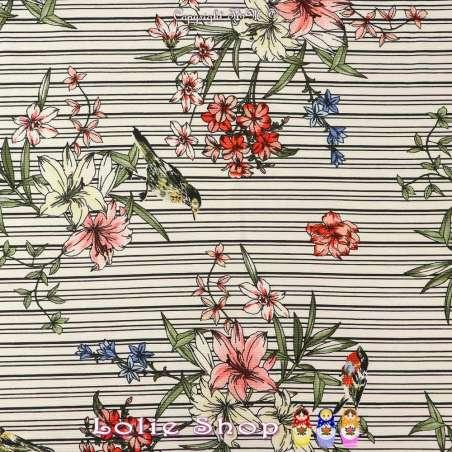 Coupon Double Crêpe Polyester Rayures et Fleurs