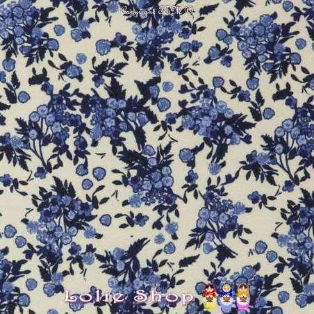 Crêpe Polyester Fleuri Bleu
