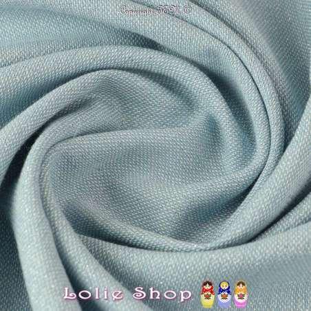 Toile épaisse Coton Bleu Ciel, fils de chaîne blanc et Lurex