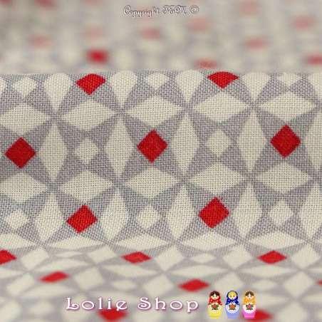 Fibranne Viscose à doubles bases Motif géométrique ton rouge