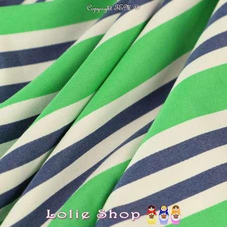 Coupon Satin de Coton élasthanne Imprimé Motif à rayures Vertes