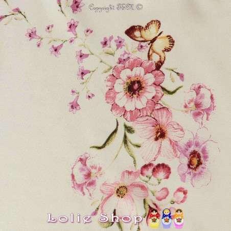 Coupon Viscose Imprimé Fleurs ton rose sur fond crème