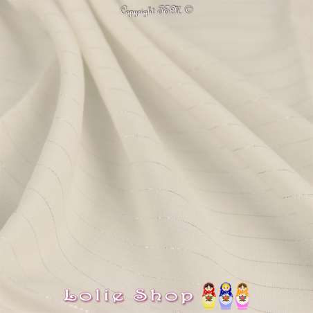 Tissu Voile Viscose à Rayures Lurex Blanc Cassé