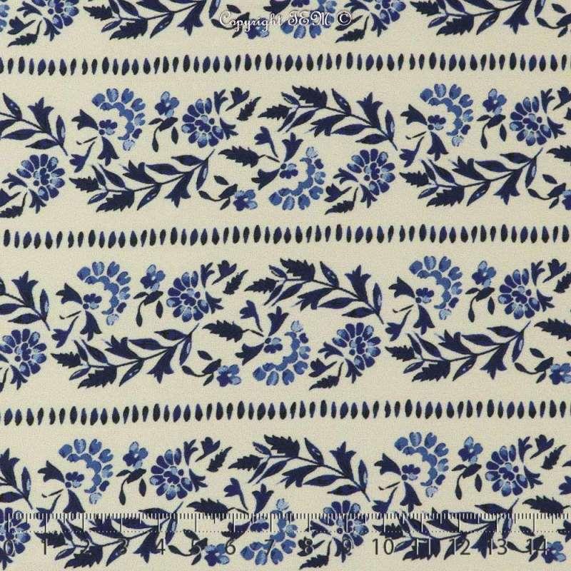 Tissu Crêpe Polyester Imprimé Motif Fleuri en ligne ton bleu