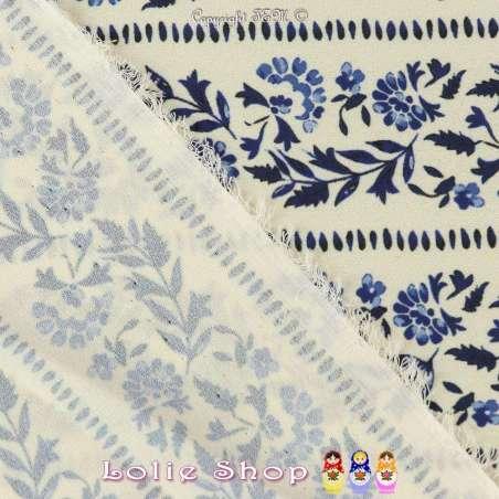 Crêpe Polyester Imprimé Motif Fleuri en ligne ton bleu