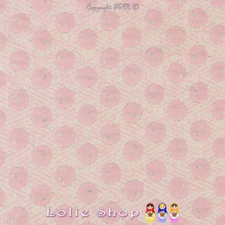 Maille Jacquard Tramé motif à Poids Ton Rose et Lurex Argent