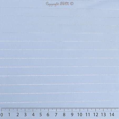 Tissu Voile Viscose à Rayures Lurex Bleu 15x15Cm