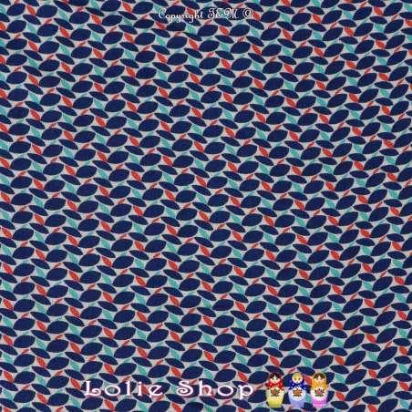 Coupon Tissus Toile / Fibranne Viscose Motif Graphique Ton Bleu