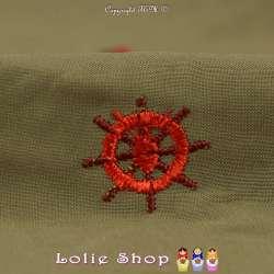 Coupon  3 mètre Tissus Toile / Fibranne Viscose Couleur Kaki  Brodé Motif Thème Marin