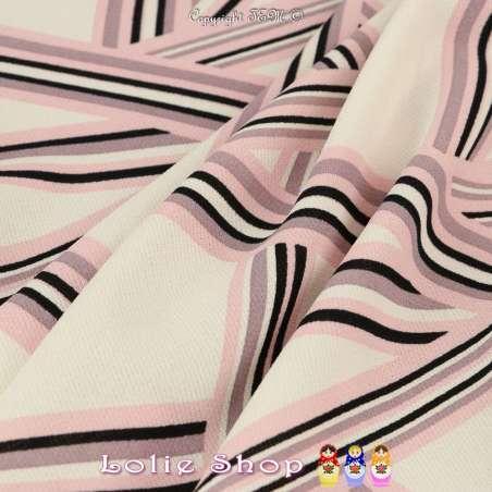 Vendu par Coupon de 3m   Coupon Crêpe Polyester Imprimé  Motif Graphique Ton Rose
