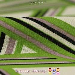 Vendu par Coupon de 3m    Coupon Crêpe Polyester Imprimé  Motif Graphique Ton Vert