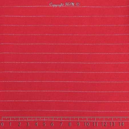 Tissu Voile Viscose à Rayures Lurex Rouge 15x15Cm