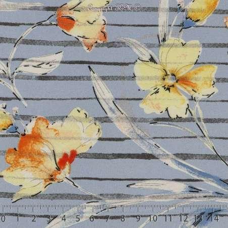 Coupon 3 Mètres Crêpe Polyester Imprimé Motif Fleuris