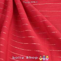 Tissu Voile Viscose à Rayures Lurex Rouge