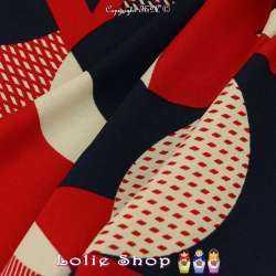 Coupon 3 Mètres Crêpe Polyester Lourd Imprimé Motif Graphique Ton Rouge