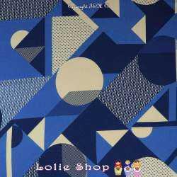Coupon 3 Mètres Crêpe Polyester Lourd Imprimé Motif Graphique Ton Bleu