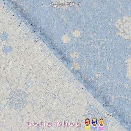 Maille Jacquard Tramé motif à Fleurs Ton Bleu et Lurex Argent