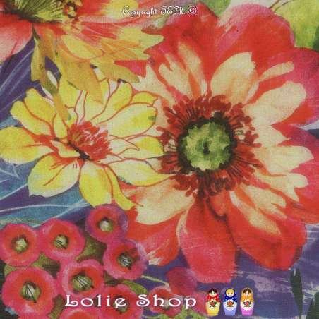 Coupon Crêpe Georgette Polyester Motif Fleur Ton Vif