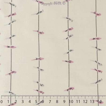 Popeline Coton Imprimé Motif Oiseaux Sur Fond Écru