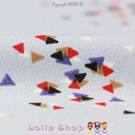 Crêpe Envers Satin Imprimé Triangles Multicolores Fond Bleu