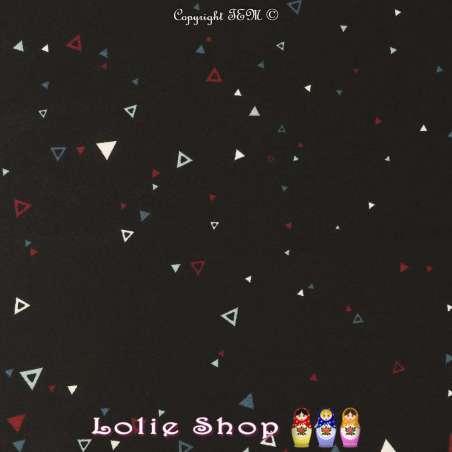 Crêpe Légère Imprimé Triangles Multicolores Fond Noir