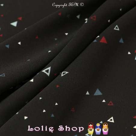 Crêpe Légère Imprimé Triangles Multicolores Fond NoirCrêpe Légère Imprimé Triangles Multicolores Fond Noir