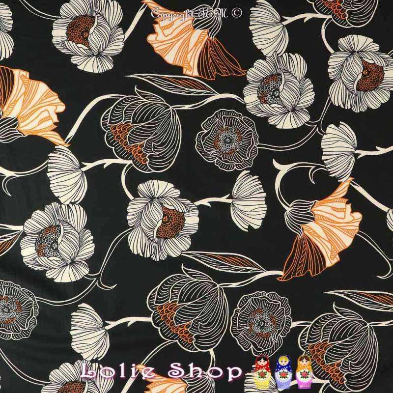 Satin de Coton Imprimé Grandes Fleurs Blanches Fond Noir