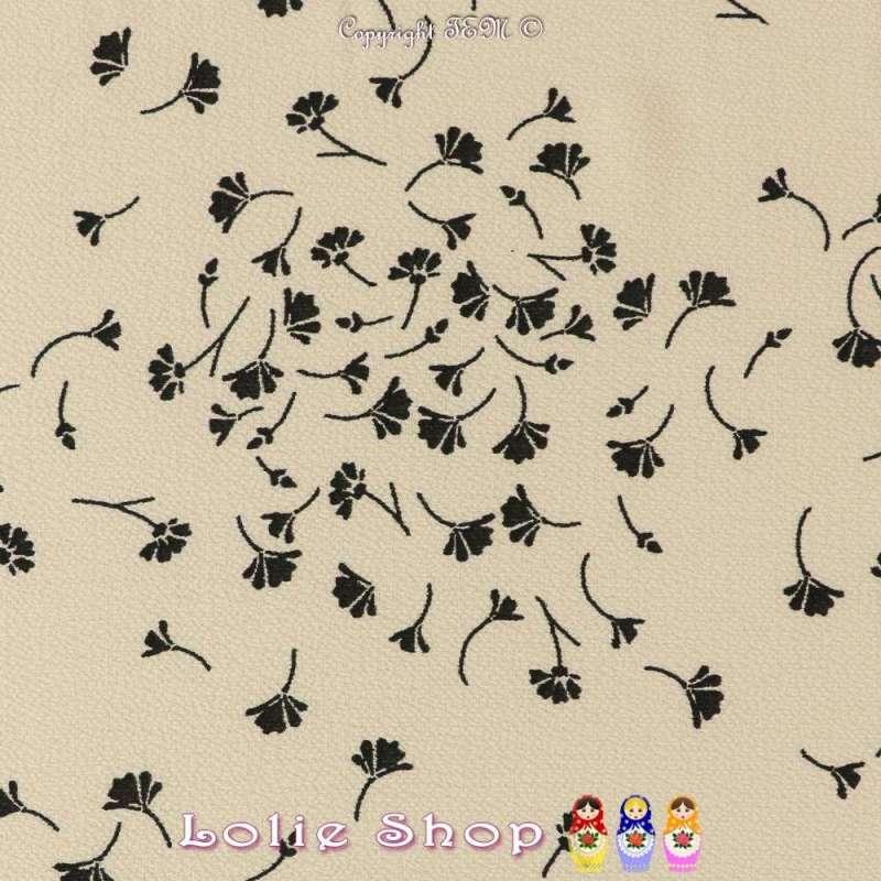Crêpe Imprimé Motif Fleur de Ginkgo Fond Crème