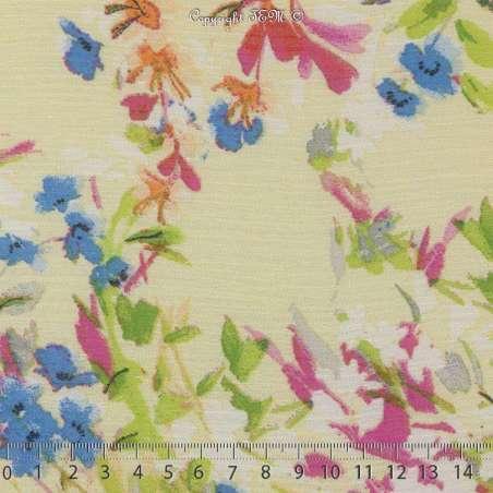 Coupon Crépon Mousseline Polyester Motif Fleur Ton Jaune