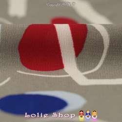 Coupon Microfibre Élasthanne Imprimé Formes Géométriques ton rouge bleu gris