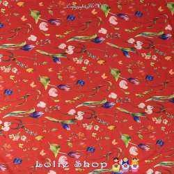 Coupon Microfibre Élasthanne Imprimé Fleurs fond Rouge