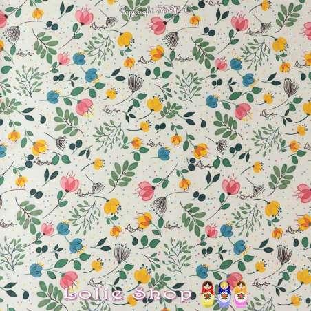 Coupon Coton Imprimé Petites Fleurs ton pastel