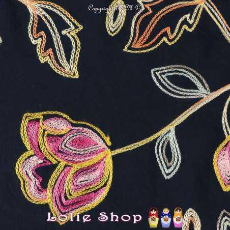Coupon  3 mètre à 10€ Tissus Toile / Fibranne Viscose Couleur Marine Brodé Motif Thème floral