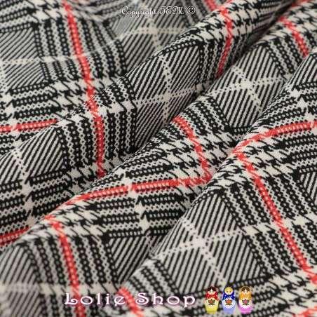 Coupon Double Crêpe Polyester Imprimé Tartan Ton Gris