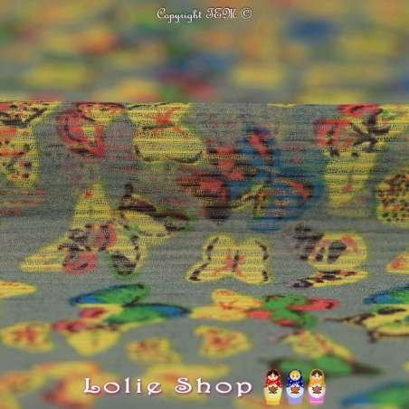 Coupon Crépon Mousseline Polyester Motif Papillons